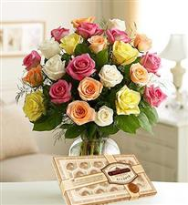 25 assorted roses + chocolates.
